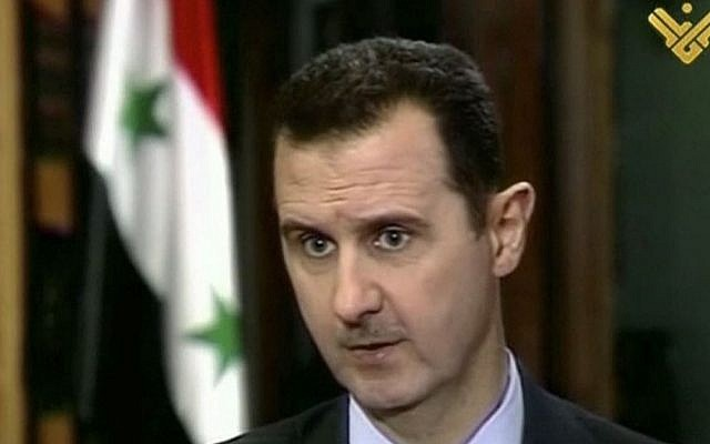 Syrian President Bashar Assad during an interview broadcast on al-Manar television on Thursday, May 30, 2013. (photo credit: AP/al-Manar television)