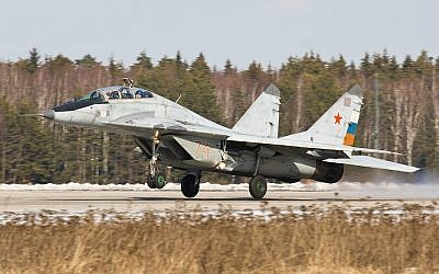 A Russian-made MiG-29 fighter jet (photo credit: Dmitry A. Mottl/Wikimedia Commons)