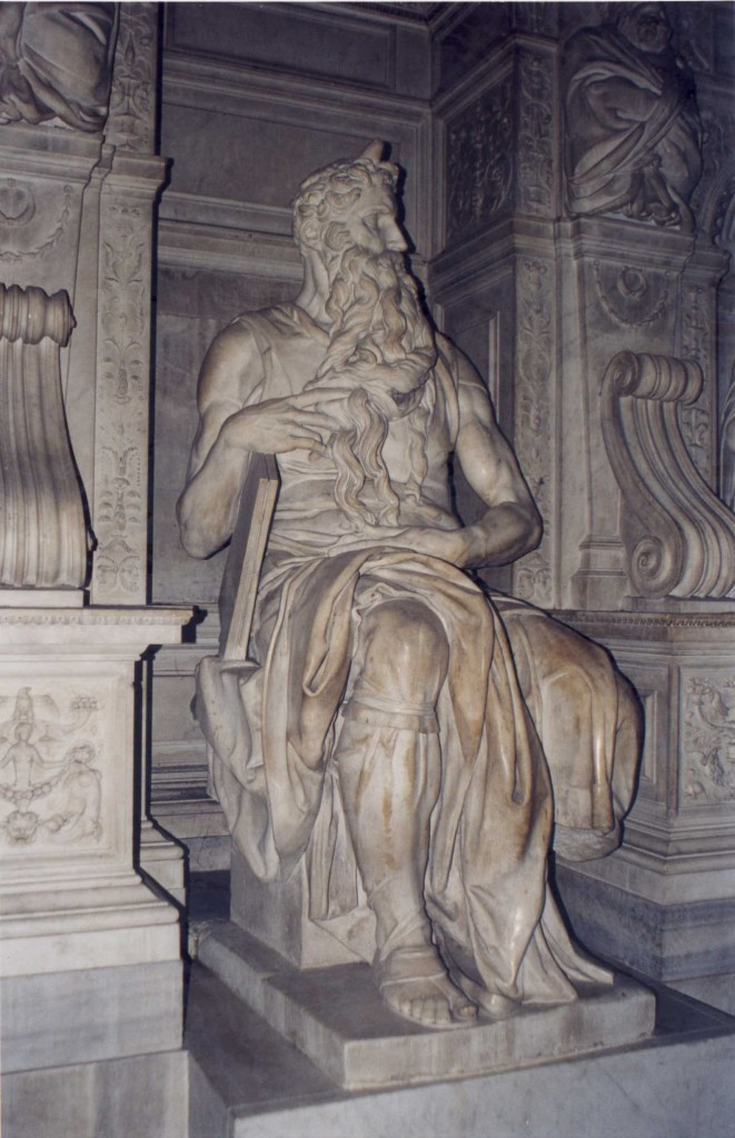 Michelangelo's Moses, 1513-15, at San Pietro in Vincoli, Rome (photo credit: Patricio.lorente/Wikipedia Commons)
