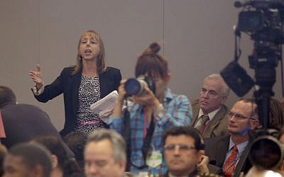 File photo of CodePink founder Medea Benjamin interrupting President Barack Obama's national security speech last year (photo credit: AP/Pablo Martinez Monsivais)