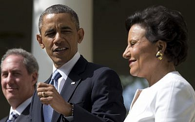 US President Barack Obama with Michael Froman and Penny Pritzker in the Rose Garden of the White House in Washington, Thursday, May 2, 2013 (photo credit: AP/Carolyn Kaster)