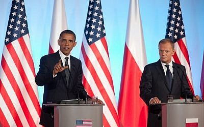 President Obama and Polish Prime Minister Donald Tusk speaking at a news conference in Warsaw, Poland, May 2011. (photo credit: Official White House Photo by Lawrence Jackson/via JTA)