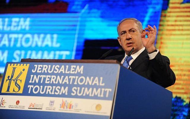 Benjamin Netanyahu speaks in Jerusalem, Wednesday (photo credit: Morag Bitan/PMO)