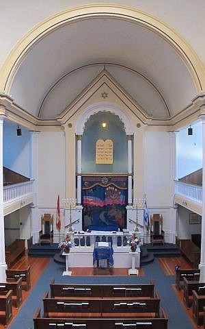 The synagogue's interior, with visible vertical cracking in the upper right corner. (photo credit: Courtesy of Congregation Emanu-El, Victoria)