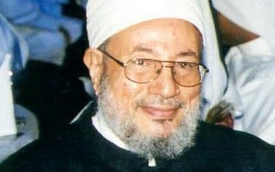 Qatari Muslim scholar Yusuf al-Qaradawi (photo credit: CC BY Wikipedia)