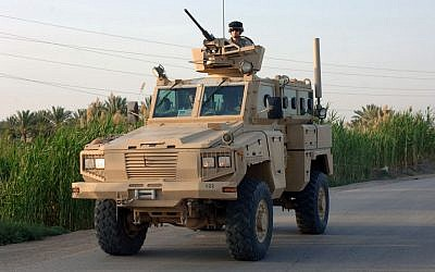 A US Army RG-31 armored personnel carrier in service in Iraq. (photo credit: SFC David D Isakson/Wikimedia Commons)
