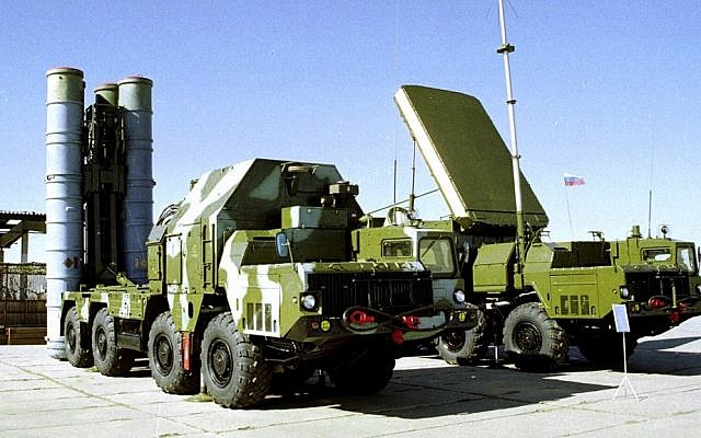 A Russian S-300 anti-aircraft missile system on display at an undisclosed location in Russia (photo credit: AP)
