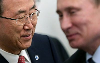 UN Secretary-General Ban Ki-moon (left) and Russian President Vladimir Putin meet in Sochi, Russia, on Friday, May 17, 2013. (Photo credit: AP/Maxim Shipenkov, Pool)