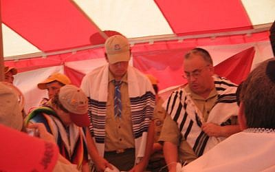 Torah service at the Boy Scouts of America's 2010 National Jamboree in Virginia. (photo credit: Courtesy National Jewish Committee on Scouting/JTA)