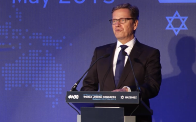 Guido Westerwelle speaks at the WJC, Monday (photo credit: screen capture/WJC)