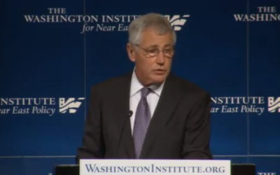 Defense Secretary Chuck Hagel speaks at the Washington Institute for Near East policy on Thursday. (photo credit: image capture from YouTube video)