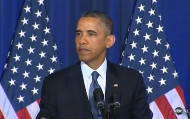 President Barack Obama speaks on Thursday, May 23, 2013, at the National Defense College. (photo credit: image capture/YouTube video)