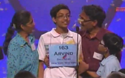 Arvind Mahankali is congratulated by his family after winning the spelling bee (Photo credit: YouTube screencapture)