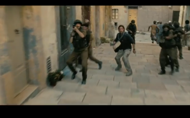 Brad Pitt and the IDF prepare to fight zombies in the Old City (photo credit: Youtube screenshot)
