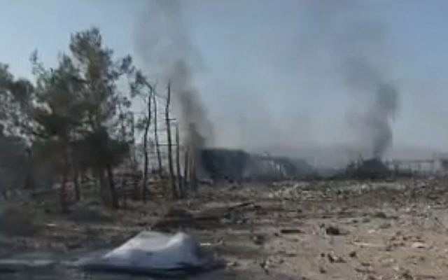 An image from the site in western Syria allegedly targeted by Israel, May 5. (photo credit: YouTube screenshot)