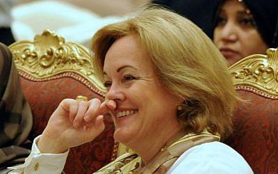 File photo of then-US ambassador to Kuwait, Deborah Jones, in Kuwait City, March 8, 2010  (photo credit: AP/Gustavo Ferrari)