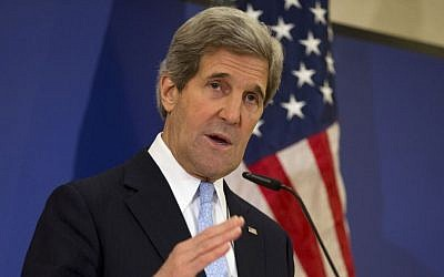 US Secretary of State John Kerry speaks at a news conference in Istanbul in April (photo credit: AP/Evan Vucci)