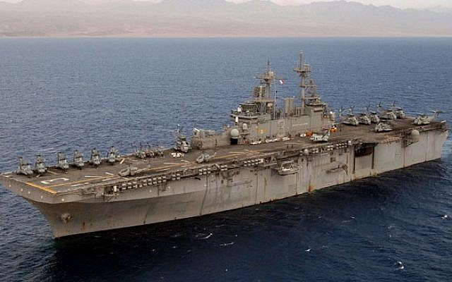 Illustrative photo of the USS Kearsarge steaming into the Gulf of Aqaba (photo credit: Official US Navy Imagery/File)