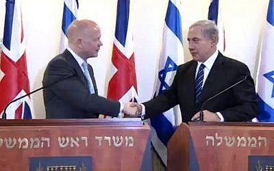 William Hague (left) and Benjamin Netanyahu in Jerusalem (photo credit: screen shot IsraeliPM/Youtube)
