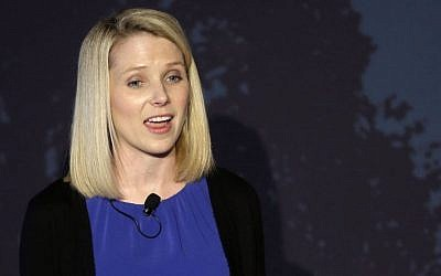 Yahoo CEO Marissa Mayer speaks during a news conference Monday, May 20, 2013, in New York (photo credit: AP Photo/Frank Franklin II)