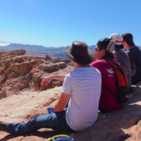 Alex Gould and friends during a Nativ hike (Courtesy Yossi Garr)