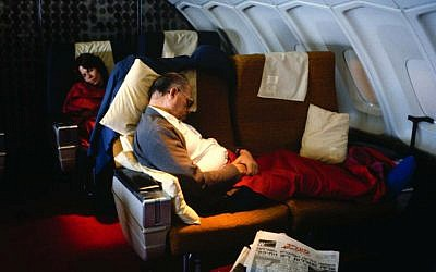 Menachem Begin sleeping on the way to the United States in this undated archive photo. (photo credit: David Rubinger/Yedioth Ahronoth)