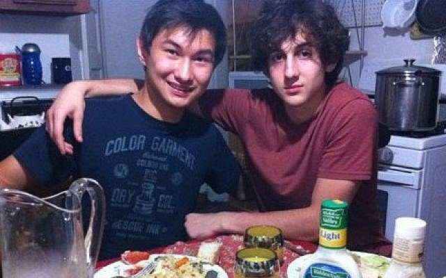 This undated photo found on the VK page of Dias Kadyrbayev shows Kadyrbayev, left, with Boston Marathon bombing suspect Dzhokhar Tsarnaev (photo credit: AP Photo/VK)