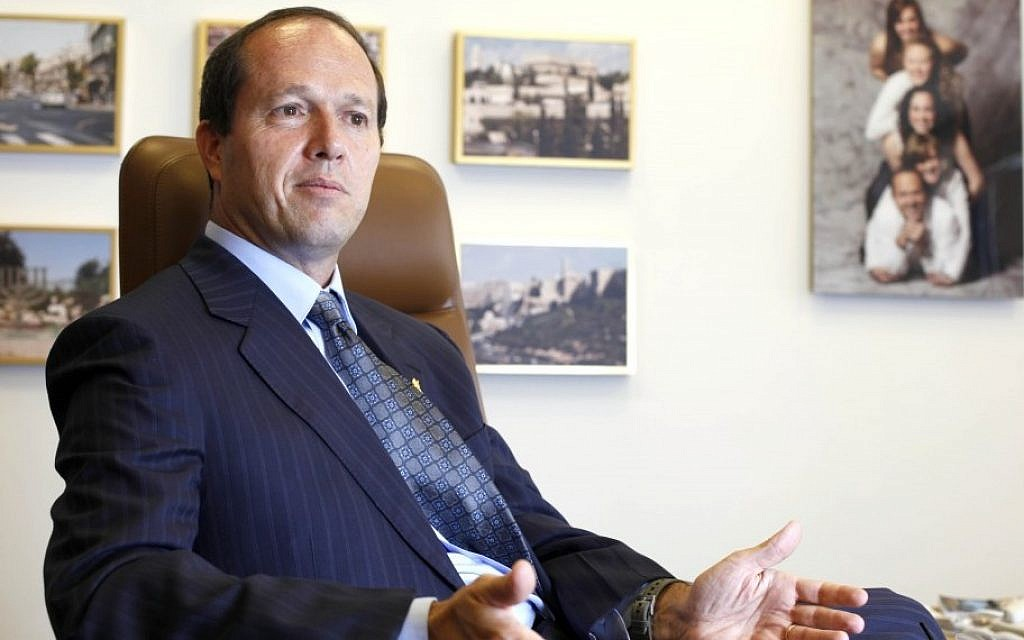 Jerusalem Mayor Nir Barkat during an interview in his office (photo credit: Lior Mizrahi/Flash90/File)