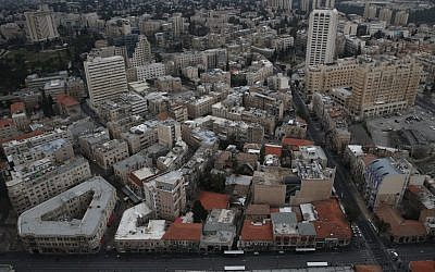 Arial view of downtown Jerusalem in 2013. (photo credit:  Nati Shohat/Flash90)