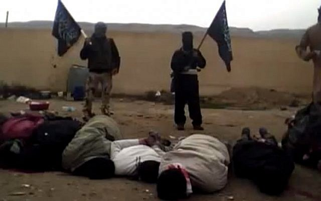 A frame from a video allegedly showing Syrian rebels and dead captives (photo credit: video capture YouTube)