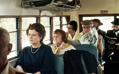 On a bus in Jerusalem. Arendt covered the Eichmann trial for the New Yorker. (photo credit: Zeitgeist Films)