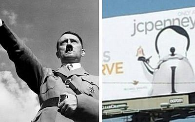 Spot the differences. A billboard depicting JCPenney's controversial 'Hitler kettle' alongside the real thing.