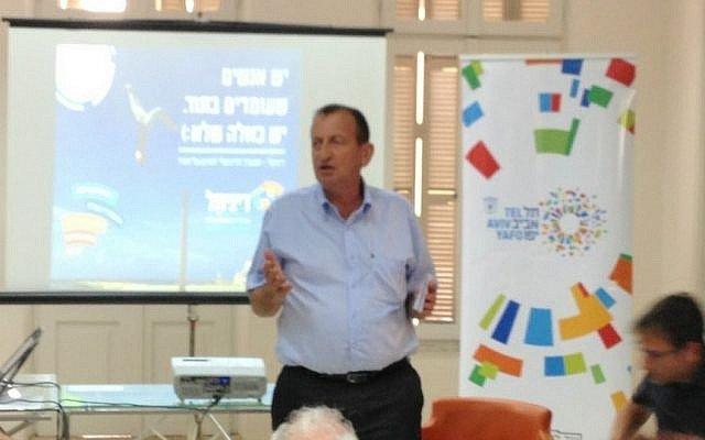 Tel Aviv Mayor Ron Huldai speaks at a press conference announcing Digi-Tel (Photo credit: Courtesy)