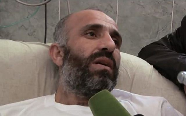 Hunger-striker Ayman Sharawneh shortly after his release from Israeli prison in March 2013 (screen capture: Youtube/RuptlyTV)