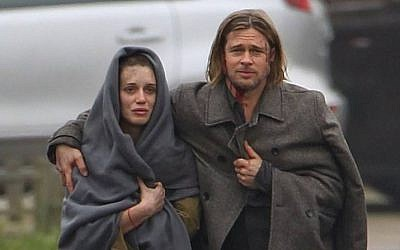 "Danielle Kertesz with Brad Pitt in ""World War Z"" (photo credit: Courtesy)"