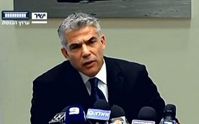 Finance Minister Yair Lapid speaking at the Yesh Atid faction meeting at the Knesset, on Monday May 27, 2013 (photo credit: screen capture/Knesset channel)