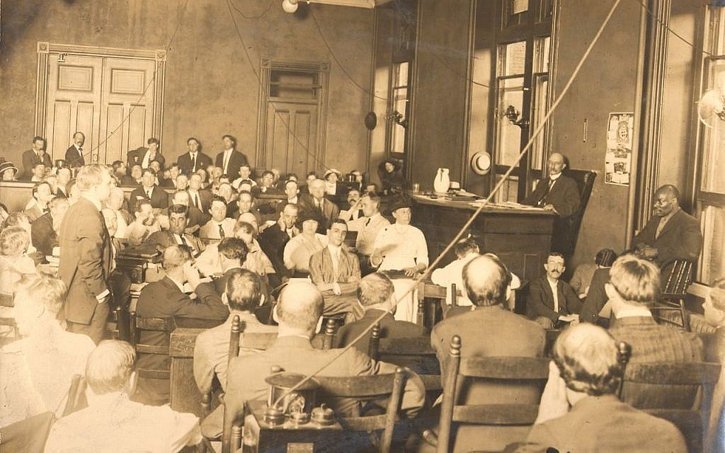 First day of the Leo Frank Trial, 1915. (photo credit: public domain)