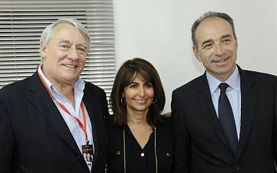 Valerie Hoffenberg, center, next to prominent UMP politicians Claude Goasguen, left, and Jean-François Copé (photo credit: DR)