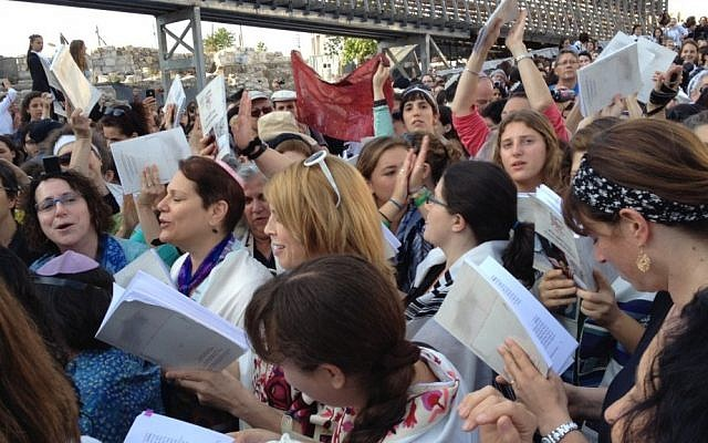 Members of Women of the Wall gather at the Western Wall in Jerusalem on Friday, May 10. (photo credit: Michal Shmulovich/Times of Israel staff)