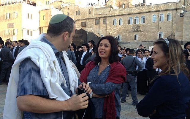 Likud MK Miri Regev, center, at the Western Wall plaza on Friday (photo credit: Michal Shmulovich/Times of Israel staff)