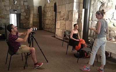 Dancer Renana Raz wearing a Raziela dress, posing as Alexandra Shlomzion (photo credit: Jessica Steinberg/Times of Israel)