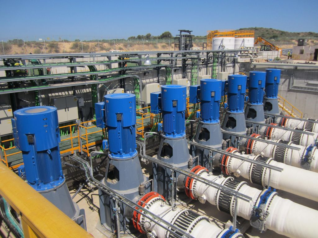 Illustrative photo of the inner workings of an Israeli desalination plant (Ben Sales/JTA)