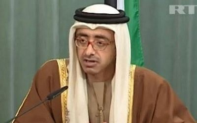 United Arab Emirates Foreign Minister Sheikh Abdullah Zayed, February 13, 2012. (screen capture: Youtube/baynetna)