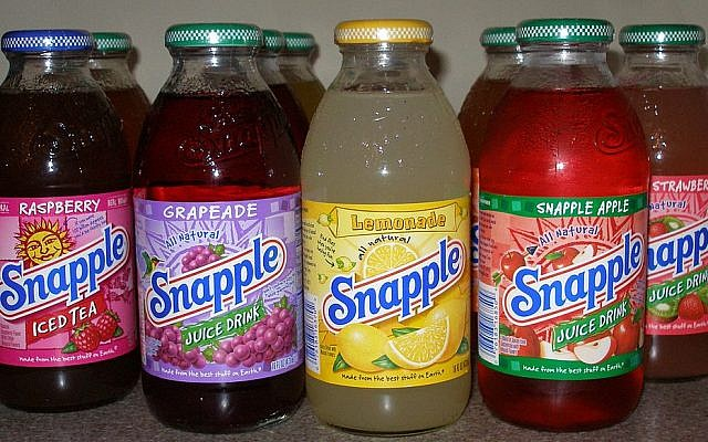 An array of Snapple flavors (photo credit: CC BY SA, wikipedia)