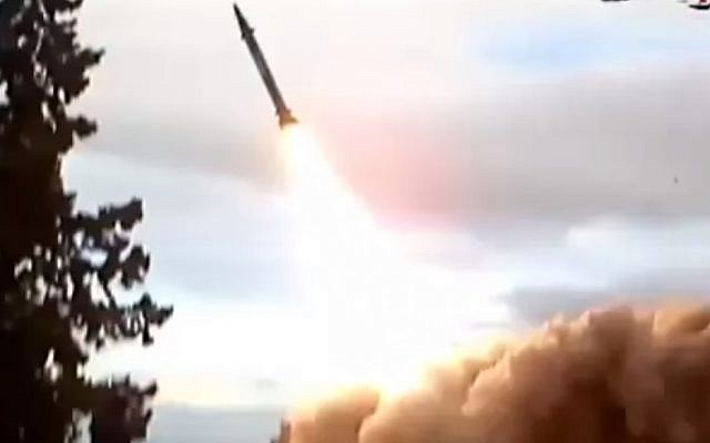 A shot from a video purporting to show a Tishreen missile being test fired. (Screenshot/YouTube)