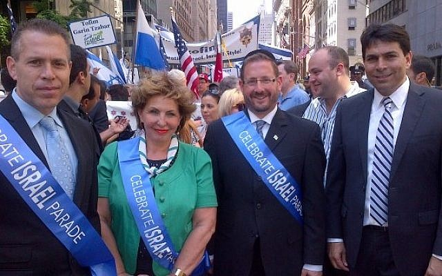 Home Front Defense Minister Gilad Erdan, Immigrant Absorption Minister Sofa Landver, MK Dov Lipman and Deputy Defense Minister Danny Danon take part in a large, pro-Israel march in New York on Sunday, June 2 (photo credit: Courtesy)