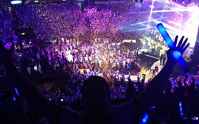 Thousands attend Birthright's Bar Mitzvah bash in Nokia Arena in Tel Aviv on June 26, 2013 (photo credit: Facebook)