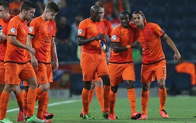 Holland's Under-21 squad celebrates, Sunday. (photo credit: UEFA/via Twitter)