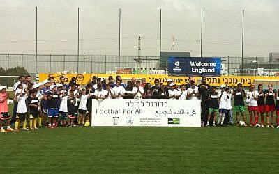 Participants of the 'Football For All' event, Sunday (photo credit: Aaron Kalman)