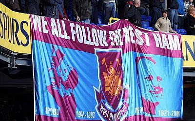 West Ham United fans display a banner supporting the team in a match against Tottenham Hotspurs in 2008 (photo credit: CC BY-SA, Kevin Law, Wikimedia Commons)